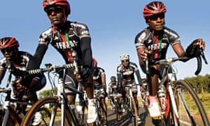 Kenyan cyclists Samwel Ekiru, Suleiman Kangangi, Paul Ariko