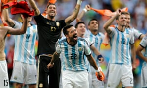 Ezequiel Lavezzi leads the celebrations after Argenina's victory against Belgium.