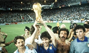Paolo Rossi holds the World Cup after Italy's 3-1 win over West Germany in the 1982 final in Madrid.