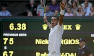 Nick Kyrgios celebrates after his shock victory over Rafael Nadal on Centre Court