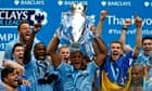 Vincent Kompany and his Manchester City team-mates lift last season's Premier League trophy. Can the