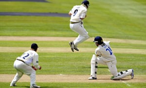 Jonathan Trott catches Ed Joyce. In his pocket