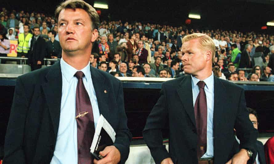 Louis van Gaal and Ronald Koeman together at Barcelona but their working relationship broke down at