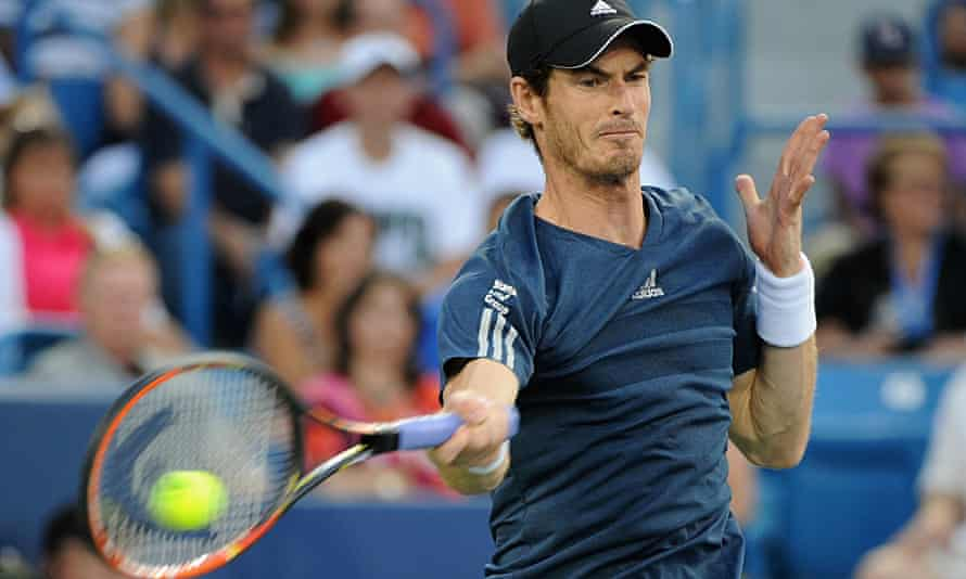 Andy Murray of Great Britian on his way to the quarter-final defeat against Roger Federer.