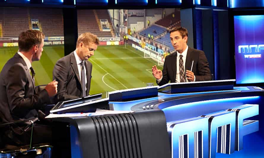 Gary Neville explains a tactical point during Sky's Monday Night Football.