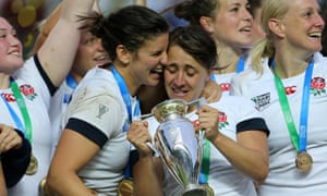 England captain Katy Mclean celebrates the 21-9 victory over Canada in the Women's Rugby World Cup.