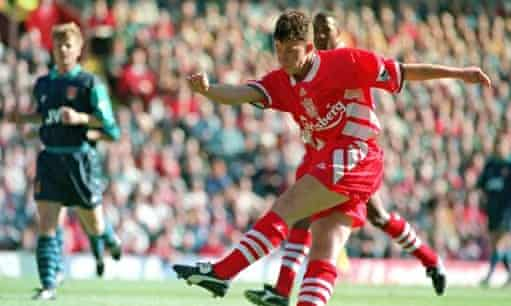 Robbie Fowler scores the second of his three goals against Arsenal in August 1994