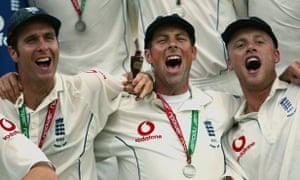 Andrew Flintoff, right, Ashes winner 2005
