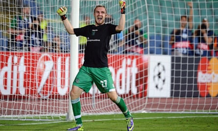 Ludogorets Razgrad's stand-in goalkeeper Cosmin Moti makes his first penalty save against Steaua.