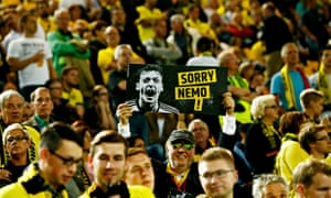 Borussia Dortmund fans with a banner before the game.
