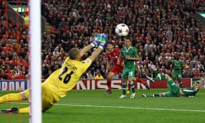 The Ludogorets goalkeeper, Milan Borjan, pulls off a save during his side's  defeat to Liverpool