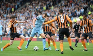 Manchester City's goalscorer Edin Dzeko in action during the Premier League match against Hull