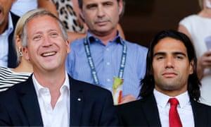 Monaco's vice-president Vadim Vasilyev and Radamel Falcao when the French club were splashing out.