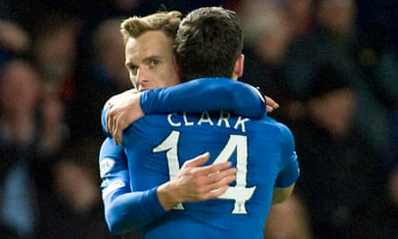 Rangers' Dean Shiels celebrates with Nicky Clark