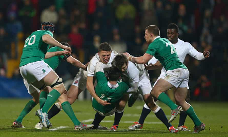 Sam Burgess of England Saxons gets stuck in as he tackles