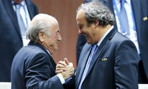 Sepp Blatter, left, and Michel Platini shortly after the former had been re-elected Fifa president