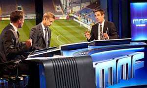 Gary Neville, right, Ed Chamberlain, centre, and Jamie Carragher, left, on Monday Night Football