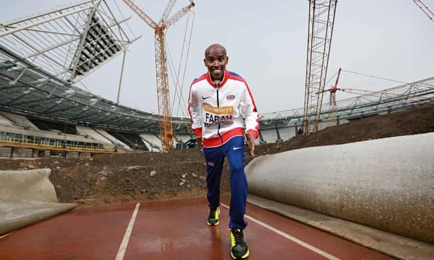 Mo Farah was back at London's Olympic Stadium where he will run at the Anniversary Games in July.