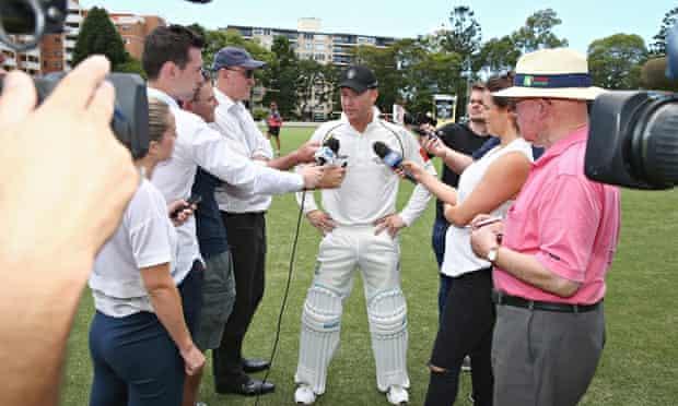 Michael Clarke, centre, speaks to the media in Sydney last weekend