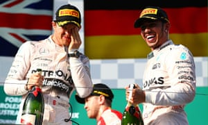 Lewis Hamilton and his Mercedes team-mate Nico Rosberg