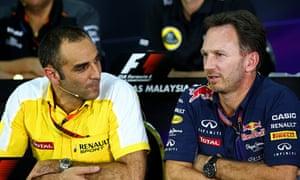 Renault's Cyril Abiteboul, left, alongside Red Bull team principal Christian Horner