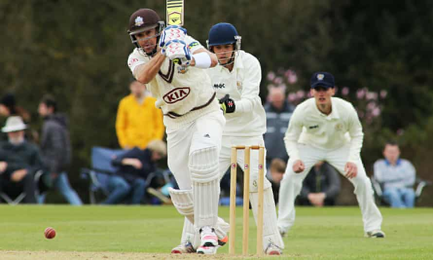 Kevin Pietersen drives the ball on his way to scoring 170 for Surrey against Oxford MCCU.
