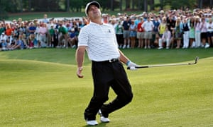 Kenny Perry reacts to his chip shot on the first sudden death play-off hole at the 2009 Masters