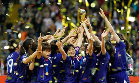 Japan's players celebrate winning the World Cup in Frankfurt four years ago
