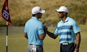 Tiger Woods, right, and Jason Day during a practice session at Chambers Bay ahead of the US Open