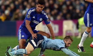 Ruben Loftus-Cheek, left, fights for possession with Andrew Hoole