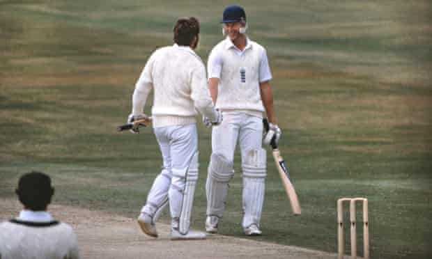 Graham Dilley is congratulated by Ian Botham