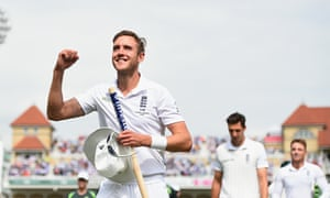 Stuart Broad celebrates England's Ashes triumph at the end of the fourth Test at Trent Bridge.