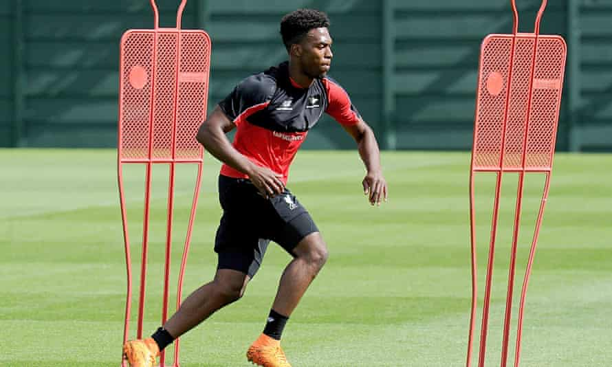 Daniel Sturridge during a light training session at Liverpool's Melwood training base in late August