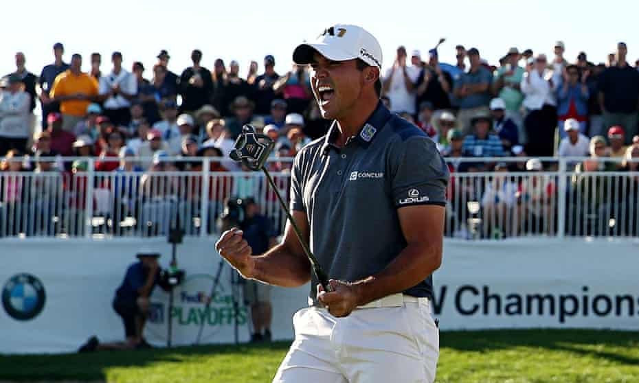 Australia's Jason Day celebrates after winning and becoming the world No1.