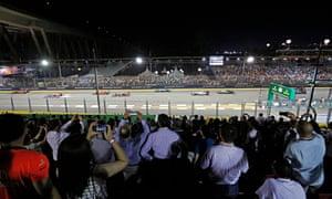 Spectators watch on during Sunday's Singapore Grand Prix