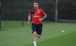 Mathieu Debuchy in training for Arsenal last month