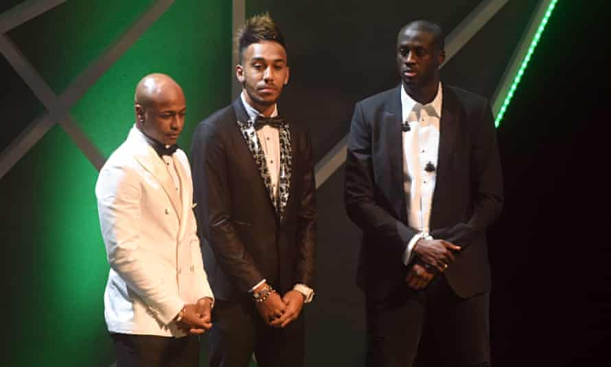 Yaya Touré, left, Pierre-Emerick Aubameyang, centre, and André Ayew