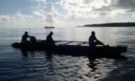 Fishermen off South Pacific island Tokelau
