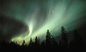 Northern lights (aurora borealis) near Gallivare, Northern Sweden