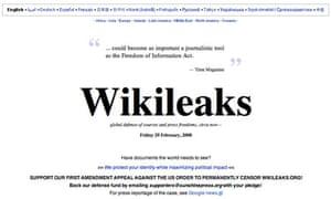 Home page of whistleblowers' website Wikileaks