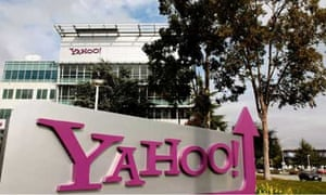 Yahoo logo on a sign outside its Sunnyvale Campus