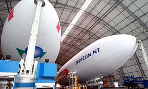The new Zeppelin NT airship in the hanger in Friedrichshafen, Germany