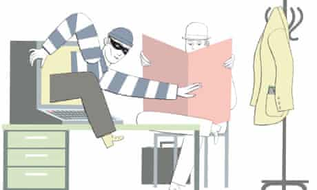 Cybercrime cartoon: thief climbs out of computer screen