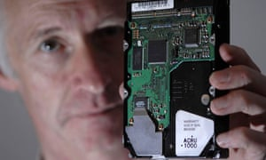 Journalist Pete Warren and hard drive