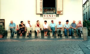Italians sitting outside a cafe