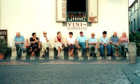 Italians sitting outside a cafe