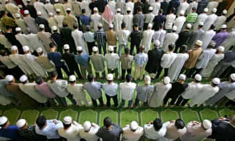 Muslims pray at East London mosque