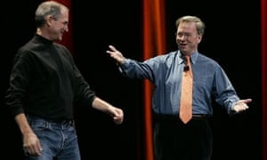 Steve Jobs of Apple and Google's Eric Schmidt