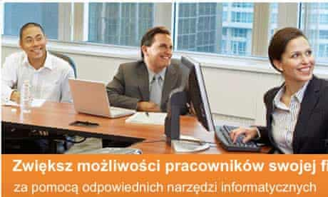 Microsoft's doctored advert was shown to users in Poland