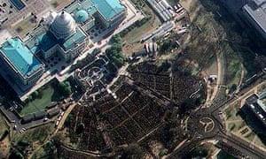 Satellite photo of National Mall in Washington, DC, during inauguration of US President Barack Obama